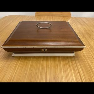 Solid wood jewellery box with two levels